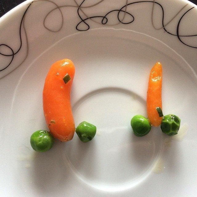 Heute gabs Erbsen, Karotten und Kroketten zum Mittagessen - was…
