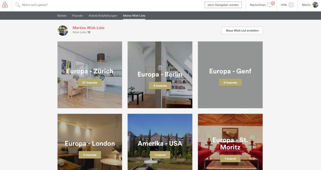 Reisen mit Airbnb - meine Wunschlisten