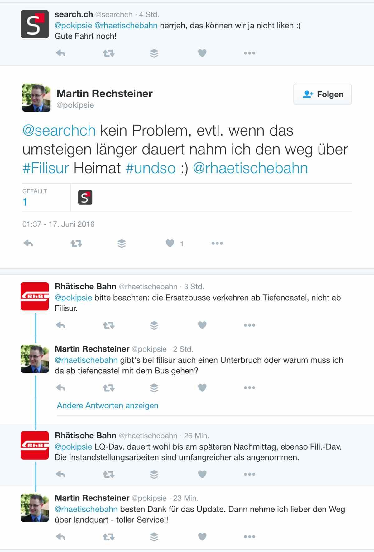 Unterwegs mit der Tour de Suisse - Tweets mit der RhB