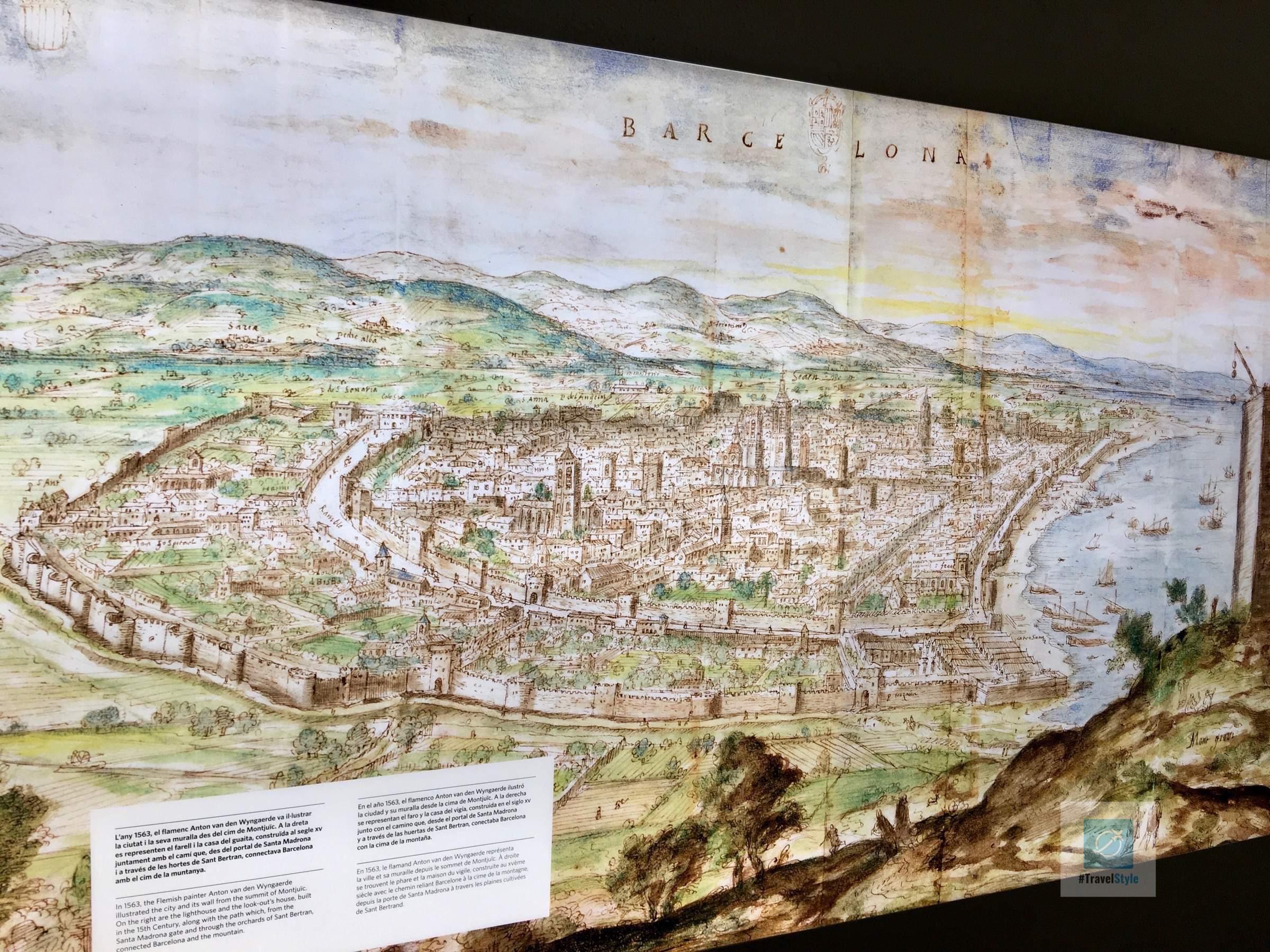Die Stadt Barcelona früher mit den beiden Stadtmauern