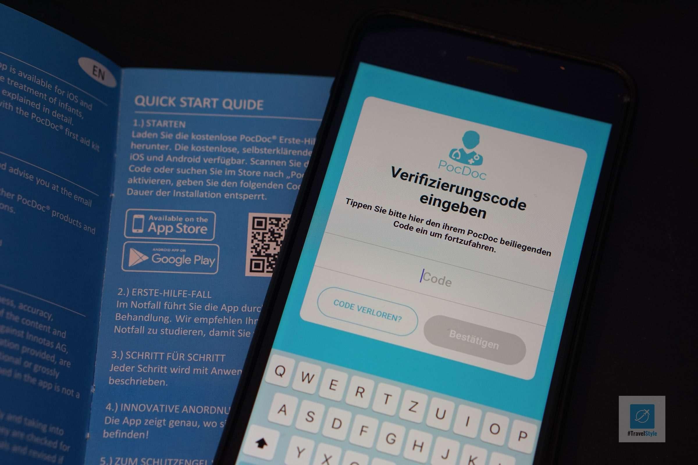 Die App mit dem Verifizierungscode freischalten